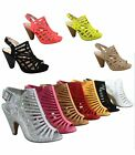 Heels - NEW Fashion Strappy Caged Kitten Chunky Heel Womens Sandal Shoes Size 6 11