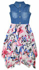 Girls Vibrant Butterfly Denim Dress New Kids Sleeveless Party Dresses 2-11 Years