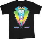 big and tall t-shirt rainbow tuxedo rave disco funny tee tall shirts for men