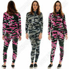 New Womens Ladies Camouflage Print Two Piece Full Length Tracksuit Size 8 10 12