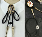 Men Oval Bolo Tie Bola Tie Crystal Shoestring Necktie Suit Shirt Necklace Chain