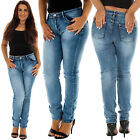 New Womens High Waist Plain Faded Stretchy Skinny Denim Blue Jeans Plus Size XL