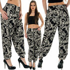 Womens Paisley Printed Harem Pants Ankle Cuff Ali Baba Trousers Size 8 10 12 14
