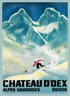 Ski Skiing Chateau D'Oex Alps Vaudoises Suisse Vintage Poster Repro FREE S/H