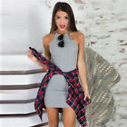 Women Sexy Sleeveless Sheath Mini Dress Spaghetti Strap Halter Neck Clubwear