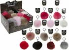 Rabbit Fur Ball Charm Key Chain Car Key Ring with Round Key Ring