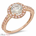 2.50 CT Sim Engagement Ring Round Cut Halo Rose  Sterling Silver Bridal band RP