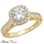 1.95 CT Round Cut Sim Engagement Bridal band Ring halo YELLOW Sterling Silver RP