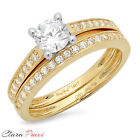 1.35 CT Round Cut Sim Engagement Bridal Ring band set Multi Sterling Silver GF