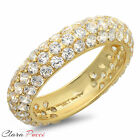 2.45 ct pave set AAAAA CZ Wedding Engagement Band Ring Yellow 925 Silver