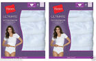 8 Pack Hanes Women's Ultimate Cotton Comfort Briefs Panties WHITE Size 5-10 LOTA