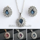 A1-S052 Earrings Necklace Set Swarovski Crystal Simulated Amethyst Ruby Sapphire