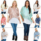 New Womens Italian Lagenlook Floral Lace Cutout Coton Top Plus Size 14 16