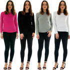 New Womens Ladies Plain Scoop Neck Basic Long Sleeve Casual Viscose Top S M L