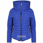New Ladies Womens Padded Quilted Puffer Bubble Fur Collar Jacket Coat Royal Blue