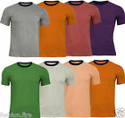Mens100% Cotton Summer Ribbed Contrast Neckline Casual Summer Mens T-Shirt Top