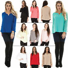 New Womens V-Neck Elasticated Cuff Long Sleeves Tunic Blouse Top One size 8 12