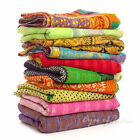 LARGE SELECTION - COLORFUL KANTHA REVERSIBLE TAPESTRY THROW QUILT BEDSPREAD