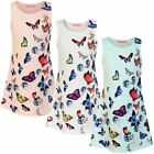 Girls Fitted Sleeveless Butterfly Print Mini Dress Kids Casual Party Top 3-14 Y