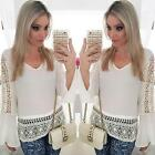 New omen Loose Long Sleeve Bohemia Casual Shirt Tops White Blouse US