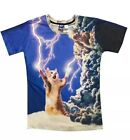 3D Lightening Cat Printed Tops T-Shirt Men's Summer Short Sleeve Tee Shirt New
