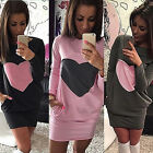 Women Fashion Heart Print Dress Long Sleeve Warm Cotton Sexy Bodycon Dress jr
