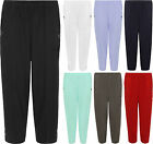 Plus Ladies 3/4 Casual Plain Trousers Womens Short Pocket Elasticated Pants