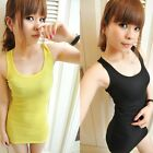Hot Candy Color Women Girl Basic Cotton Long Tank Top Vest Sleeveless T-Shirt