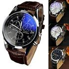 Men Date Leather Stainless Casual Steel Military Quartz Wrist Watch Waterproof