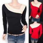 Trendy Contrast Long Sleeves Retro Blouse Top