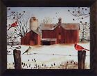 WINTER FRIENDS by Billy Jacobs 22x28  FRAMED PRINT Cardinals Barn Silo SEASONS