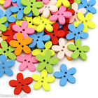 Gift Wholesale Wood Buttons Sewing Scrapbooking Flowers Shaped 2 Holes Mixed