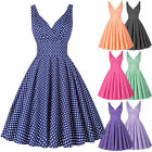 Plus Size Women Vintage 50s 60s Retro Pinup Swing Prom Ball Evening Party Dress