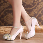 Fashion Ankle Pearl Shoes Wedding Bridal High Heel Women Evening Party New Pumps