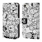 HEAD CASE DESIGNS DOODLE GALORE LEATHER BOOK WALLET CASE FOR APPLE iPHONE 5C