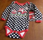 Case IH for kids Black one piece w/white polka dots trimmed in red w/tractor etc