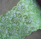 """3.7 - 4.2 Yards 6"""" Wide Lovely Stretch Green Lace with Ivory Flower 237"""
