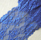 "3 - 4.2 Yards 7"" Wide Stretch Floral Lace with Navy 318"