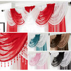 Crystal Beaded Voile Swag - Net Valance Pelmet For Curtains - Slot Top - Single