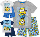 Boys Short Sleeved Official Minions Pyjama Set New Kids Cotton PJs 6-12 Years