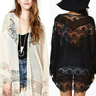 Womens Boho Lace Floral Chiffon Long Cardigan Coat Jacket Loose Kimono Shirt Top