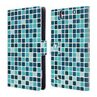 HEAD CASE DESIGNS MOSAIC TILES LEATHER BOOK WALLET CASE COVER FOR SONY XPERIA C4