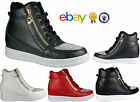 Womens Ladies Wedge Trainers Mid Heel Platform Diamante High Top Hi Ankle Boots