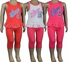 Girls Vest Top Cropped Leggings 2 Piece Set Kids Clothes Summer Wear Ages 18m-6y