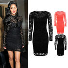 Ladies Celeb Nicole Long Sleeve Floral Lace Crochet Lined Party Bodycon Dress
