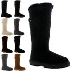 Womens Quilted Twin Strap Back Tall Fur Lined Buckle Winter Snow Rain Boots 3-10