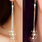Fashion Women Silver Gold Plated Crystal Ear Stud Earrings Hook Dangle Jewelry