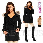 Sexy Women's Winter Coat Belted Jacket Hood Outerwear Size 6 8 10 12 XS S M L