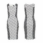 Stella Morgan Designer Women Monochrome Abstract Print Midi Bodycon Pencil Dress