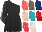 New Womens One Shoulder Chiffon Sheer Lined Long Sleeve Dress Ladies Top 8-14